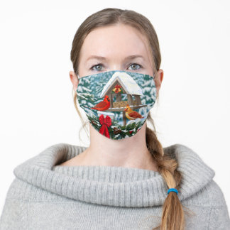 Cardinals and Christmas Bird Feeder Adult Cloth Face Mask