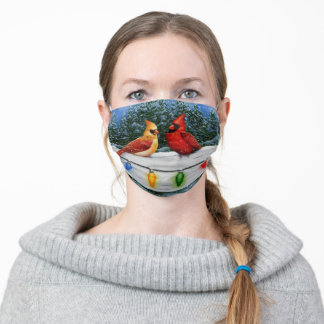 Cardinals and Christmas Lights Adult Cloth Face Mask