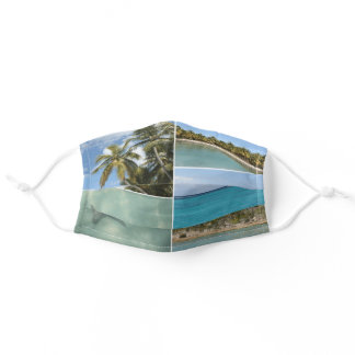 Caribbean Travel Vacation Photo Collage Adult Cloth Face Mask