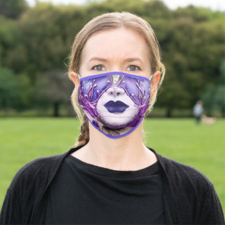 Carnival  Decorated Purple And Red Violet Venetian Adult Cloth Face Mask