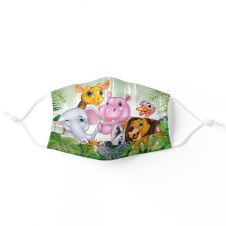 Cartoon Animals, Colorful, Forest, for kids Adult Cloth Face Mask