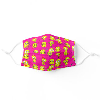 cartoon chicks on neon pink adult cloth face mask