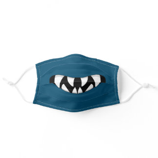 Cartoon Monster Mouth Blue Adult Cloth Face Mask
