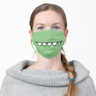 cartoon monster smile on any color adult cloth face mask