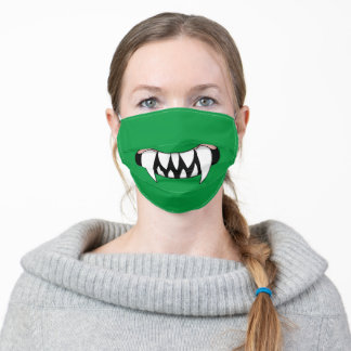 Cartoon Monster Teeth Mouth | Green Adult Cloth Face Mask