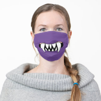 Cartoon Monster Teeth Mouth   Purple Adult Cloth Face Mask