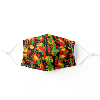 Cartoon Red Pepper, Cactus and Flames on Black Adult Cloth Face Mask
