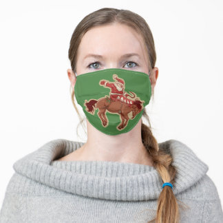 Cartoon red santa claus ryding on horse adult cloth face mask