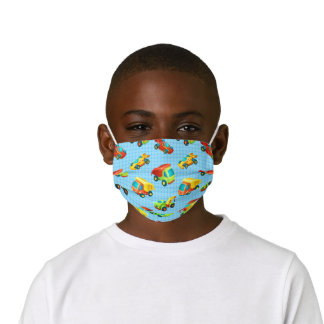 Cartoon Toy Trucks and Cars on Blue Grid Kids' Cloth Face Mask