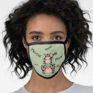 Cartoon Whimsical Cat With Green Scarf - MEOW! Face Mask