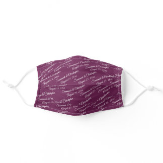 Cassis Purple Wedding Couple's Names & Date Adult Cloth Face Mask
