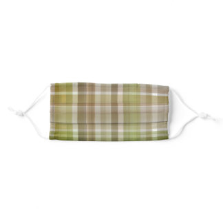 Casual style brown green plaidwashable reusable adult cloth face mask