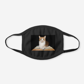 Cat and books black cotton face mask