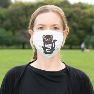 Cat and the cup coffee adult cloth face mask