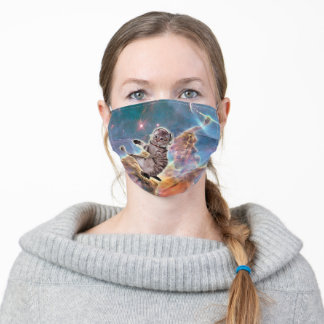 Cat astronaut - space cat - funny cats - cute cats adult cloth face mask