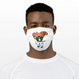 Cat at Sports with Football & Jersey Adult Cloth Face Mask