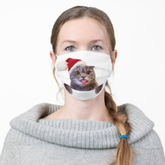 Cat Christmas Tongue Adult Cloth Face Mask