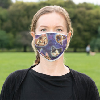 cat face - cat - funny cats - cat space adult cloth face mask