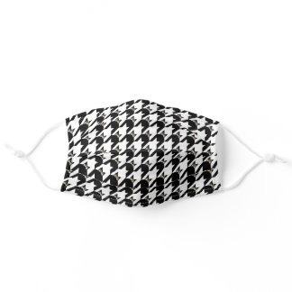 Cat Face Houndstooth in Classic Black & White Adult Cloth Face Mask