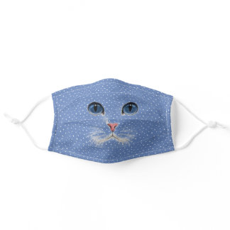 cat face on pin dots adult cloth face mask