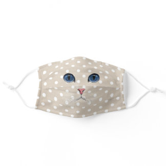 cat face on polka dot pattern adult cloth face mask