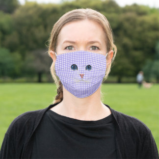 cat face on purple gingham adult cloth face mask