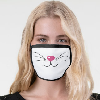 Cat face pink nose black whiskers fun animal White Face Mask