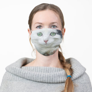 Cat face white black green eyes photo funny fun adult cloth face mask