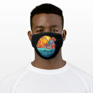 Cat fishing on sunny days adult cloth face mask