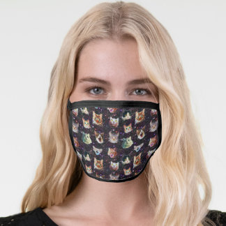 Cat Heads in Outer Space Galaxy Pattern Funny Face Mask