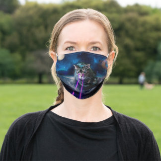 Cat laser eyes - Cats in space Adult Cloth Face Mask