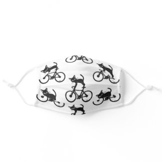 Cat loves a bike adult cloth face mask