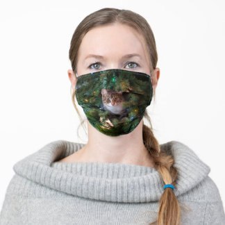 Cat on Christmas tree Adult Cloth Face Mask