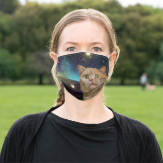 Cat staring at the universe adult cloth face mask