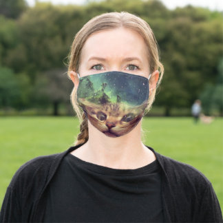 Cat Staring into Space Adult Cloth Face Mask