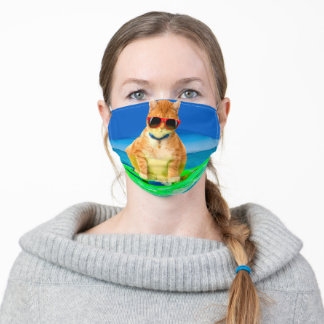 Cat surfing in the ocean - cool  cat adult cloth face mask