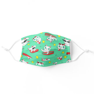 Cat Surfing Pattern Green Cute Surfer Adult Cloth Face Mask