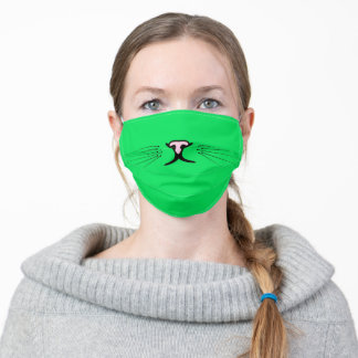 cat whiskers on neon green adult cloth face mask