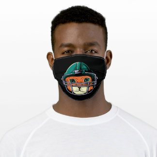 Cat with helmet of american football player adult cloth face mask