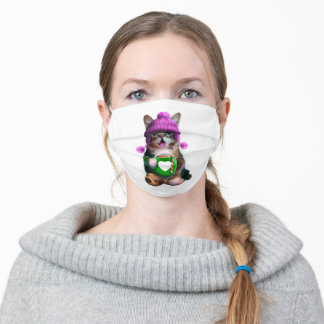 Cat with mug - cat coffee cup - cute kittens adult cloth face mask