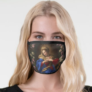 Catholic Religious Blessed Virgin Mary with roses Face Mask
