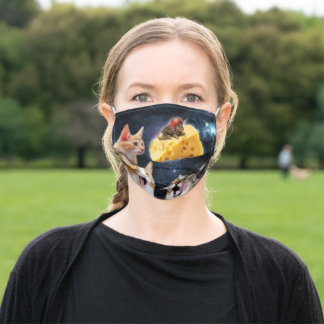 Cats and the mouse on the cheese adult cloth face mask
