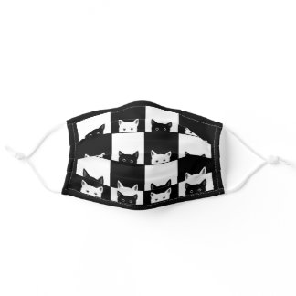 Cats, Black & White, Cat pattern, For Cat Lovers Adult Cloth Face Mask