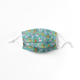 Cats Kittens Teal Blue Pattern Adjustable Kids' Cloth Face Mask