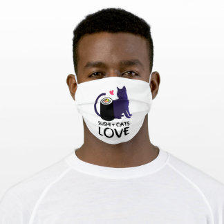 Cats Love To Eat Sushi I Rice Japan Adult Cloth Face Mask