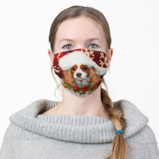 Cavalier King Charles Spaniel In Santa Hat Adult Cloth Face Mask