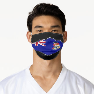 Cayman Is. Flag   Faux Torn Out Look Adult Cloth Adult Cloth Face Mask
