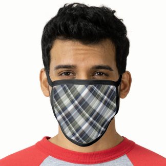 Charcoal Gray Navy Blue Madras Plaid Face Mask