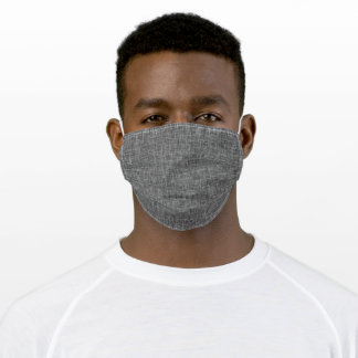 Charcoal Grey Graphic Burlap Weave Print Adult Cloth Face Mask