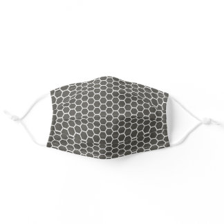 Charcoal Grey Honey Comb Pattern Adult Cloth Face Mask